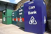 Can, bottle and textile banks at a recycling centre in Haringey, North London.