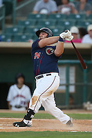 Tyler White #24 of the Lancaster JetHawks bats during a playoff game against the Inland Empire 66ers at The Hanger on September 7, 2014 in Lancaster, California. Lancaster defeated Inland Empire, 5-2. (Larry Goren/Four Seam Images)
