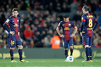 FC Barcelona's Leo Messi, Xavi Hernandez and Andres Iniesta dejected during Copa del Rey - King's Cup semifinal second match.February 26,2013. (ALTERPHOTOS/Acero) /Nortephoto