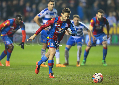 11.03.2016. Madejeski Stadium, Reading, England. Emirates FA Cup 6th Round. Reading versus Crystal Palace. Crystal Palace Midfielder Yohan Cabaye takes and scores from the penalty spot to make it 1-0 Crystal Palace