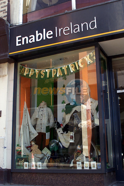 Cerebal Palsy shop window dressed for St Patricks Day..pic:Arthur Carron/ Newsfile