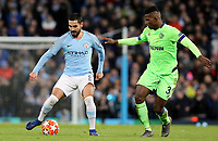 Manchester City's Ilkay Gundogan under pressure from FC Schalke 04's Hamza Mendyl<br /> <br /> Photographer Rich Linley/CameraSport<br /> <br /> UEFA Champions League Round of 16 Second Leg - Manchester City v FC Schalke 04 - Tuesday 12th March 2019 - The Etihad - Manchester<br />  <br /> World Copyright © 2018 CameraSport. All rights reserved. 43 Linden Ave. Countesthorpe. Leicester. England. LE8 5PG - Tel: +44 (0) 116 277 4147 - admin@camerasport.com - www.camerasport.com