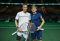 ABN AMRO World Tennis Tournament, Rotterdam, The Netherlands, 15 februari, 2017, Andrey Kuznetsov (RUS) and David Goffin (BEL) (R)<br /> Photo: Henk Koster