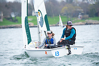 Skipper Sam Shannon,'19, right, and Crew Madeline Lark,'20, work together as Salve Regina practices in the Newport Harbor.