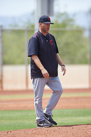 AZL Indians Red pitching coach Mike Steele walks toward the mound during an Arizona League game against the AZL Indians Blue on July 7, 2019 at the Cleveland Indians Spring Training Complex in Goodyear, Arizona. The AZL Indians Blue defeated the AZL Indians Red 5-4. (Zachary Lucy/Four Seam Images)
