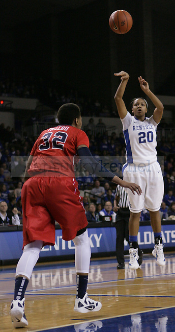 Sophomore guard Maegan Conwright shoots the ball during the first half of UK Hoops vs. Ole Miss at Memorial Coliseum in Lexington, Ky., on Thursday, Feb. 2, 2012. Photo by Tessa Lighty | Staff
