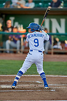 Kenneth Betancourt (9) of the Ogden Raptors bats during a game against the Grand Junction Rockies at Lindquist Field on September 7, 2018 in Ogden, Utah. The Rockies defeated the Raptors 8-5. (Stephen Smith/Four Seam Images)