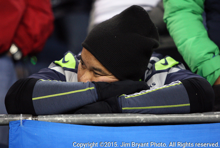 A Seattle Seahawks  fans shows his displeasure in the closing minutes of their game against the Arizona Cardinals at CenturyLink Field in Seattle, Washington on November 15, 2015. The Cardinals beat the Seahawks 39-32.   ©2015. Jim Bryant photo. All Rights Reserved.