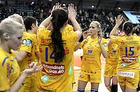 1. Bundesliga Handball Frauen - Punktspiel HC Leipzig (HCL) : DJK / MJC Trier - Arena Leipzig - im Bild: HCL Jubel - Jaqueline Hummel (m.). Foto: Norman Rembarz ..