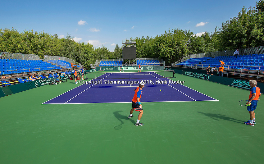 Moscow, Russia, 13 th July, 2016, Tennis,  Davis Cup Russia-Netherlands, Training Dutch team, <br /> Photo: Henk Koster/tennisimages.com