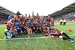 Sheffield United's players celebrate with the League One trophy during the League One match at Bramall Lane, Sheffield. Picture date: April 30th, 2017. Pic David Klein/Sportimage