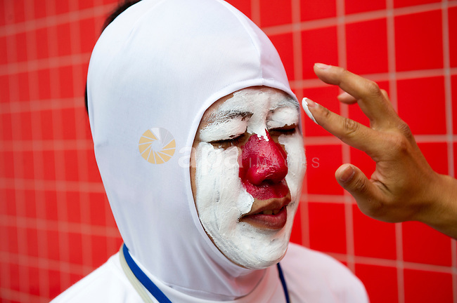 Aug. 2, 2012 - London, England, United Kingdom - A Japanese fan gets his face painted for  the Judo competition at the 2012 Olympic Games. (Credit Image: © I-Images//ZUMAPRESS.com)