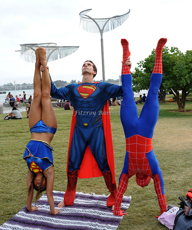 Supergirl, Superman and Spider Man Fans at Comic-Con 2014 in San Diego, Ca. July 26, 2014.