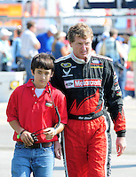 Sept. 28, 2008; Kansas City, KS, USA; Nascar Sprint Cup Series driver Bill Elliott with son Chase Elliott prior to the Camping World RV 400 at Kansas Speedway. Mandatory Credit: Mark J. Rebilas-