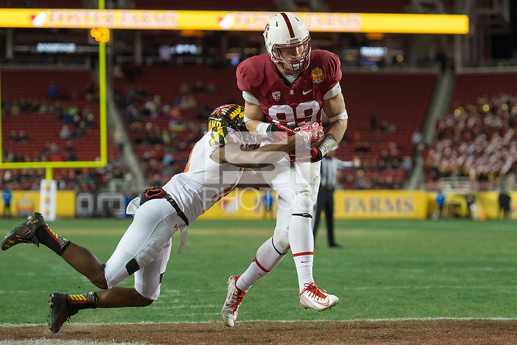 SANTA CLARA, CA - DECEMBER 30, 2014: Devon Cajuste during Stanford's game against Maryland in the 2014 Foster Farms Bowl.  The Cardinal defeated the Terrapins 45-21.