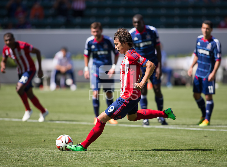 Carson, California - March 9, 2014: Chivas USA  defeated the Chicago Fire 3-2 to begin their Major League Soccer (MLS) season match at StubHub Center stadium.