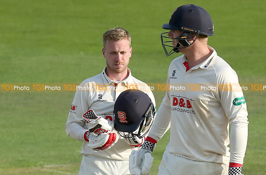 Adam Wheater (left) and Simon Harmer  of Essex between overs during Kent CCC vs Essex CCC, Specsavers County Championship Division 1 Cricket at the St Lawrence Ground on 20th August 2019