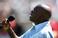 Rochester Red Wings have singer John Ellison do the national anthem during a game vs. the Pawtucket Red Sox at Frontier Field in Rochester, New York;  August 29, 2010.   Rochester defeated Pawtucket 6-3.  Photo By Mike Janes/Four Seam Images