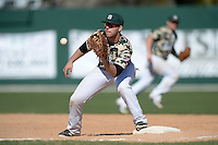 Slippery Rock infielder Kyle Vozar (26) during a game against Kentucky Wesleyan College at Jack Russell Stadium on March 14, 2014 in Clearwater, Florida.  Slippery Rock defeated Kentucky Wesleyan 18-13.  (Mike Janes/Four Seam Images)