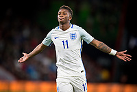 Demarai Gray (Leicester City) of England U21 celebrates scoring his goal making it 1 0 during the FIFA World Cup qualifying match between England and Slovakia at Wembley Stadium, London, England on 4 September 2017. Photo by PRiME Media Images.
