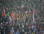 10.02.2018, Stadion an der Wuhlheide, Berlin, GER, 2.FBL, 1.FC UNION BERLIN  VS. Fortuna Duesseldorf, im Bild <br /> Duesseldorfer-Fanblock<br /> <br />      <br /> Foto &copy; nordphoto / Engler