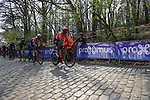 Greg Van Avermaet (BEL) CCC Team and Tiesj Benoot (BEL) Lotto-Soudal on the the first ascent of the Kemmelberg during the 2019 Gent-Wevelgem in Flanders Fields running 252km from Deinze to Wevelgem, Belgium. 31st March 2019.<br /> Picture: Eoin Clarke | Cyclefile<br /> <br /> All photos usage must carry mandatory copyright credit (© Cyclefile | Eoin Clarke)