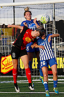 Rochester, NY - Friday May 27, 2016: Western New York Flash midfielder Alanna Kennedy (8) goes up for a header with Boston Breakers midfielder Angela Salem (26) and defender Kassey Kallman (5) during a regular season National Women's Soccer League (NWSL) match at Rochester Rhinos Stadium.