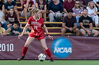 NEWTON, MA - AUGUST 29: Kate Collins of Boston University looks to pass during a game between Boston University and Boston College at Newton Campus Field on August 29, 2019 in Newton, Massachusetts.
