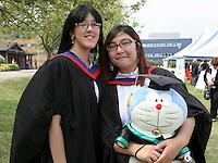 Happy graduates with mascot, University of Surrey.