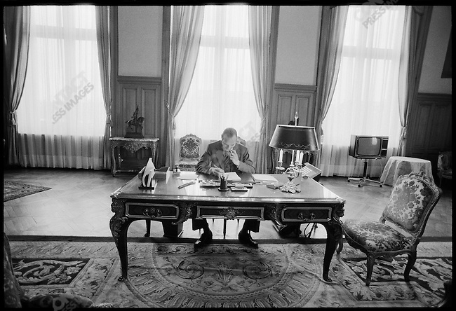 Newly-elected mayor Jacques Chirac in his office at the Hotel de Ville. Paris, France, March 1977.