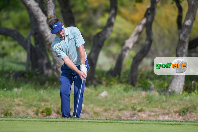 Chase Wright (USA) chips up on to 1 during day 1 of the Valero Texas Open, at the TPC San Antonio Oaks Course, San Antonio, Texas, USA. 4/4/2019.<br /> Picture: Golffile | Ken Murray<br /> <br /> <br /> All photo usage must carry mandatory copyright credit (© Golffile | Ken Murray)