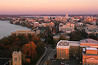 The full moon rises over Bascom Hall, lower campus, Lake Mendota, the Wisconsin State Capitol and downtown Madison during autumn, viewed from atop Van Hise Hall.<br /> <br /> Client: University of Wisconsin-Madison<br /> &copy; UW-Madison University Communications 608-262-0067<br /> Photo by: Michael Forster Rothbart<br /> Date: 11/03    File#:   D100 digital camera frame 12257.