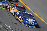 Oct 5, 2008; Talladega, AL, USA; NASCAR Sprint Cup Series driver Kurt Busch (2) leads brother Kyle Busch (18) during the Amp Energy 500 at the Talladega Superspeedway. Mandatory Credit: Mark J. Rebilas-