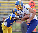 BROOKINGS, SD - APRIL 26:  Jason Schneider #83 from South Dakota State's offense looks for room past Freeman Simmons #20 from the defense during their spring game Saturday at Coughlin Alumni Stadium in Brookings. (Photo by Dave Eggen/Inertia)