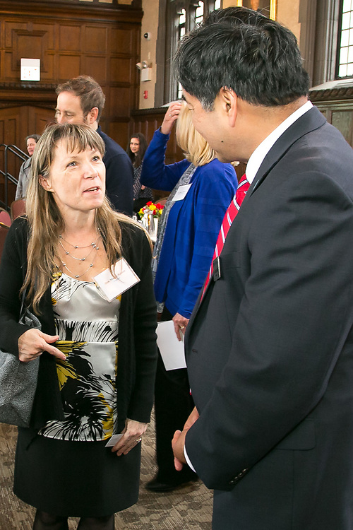 Monica Robson, left, of Canada with A. Gabriel Esteban, Ph.D., president of DePaul University, as guests gather in Cortelyou Commons for the 13th Annual Consular Corps Luncheon, Tuesday, April 3, 2018, on DePaul's Lincoln Park Campus. The event brings together members of the international consulate community with university staff and faculty in an effort to promote partnerships and educational programs. (DePaul University/Jamie Moncrief)