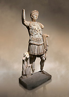 Roman statue of Emperor Trajan. Marble. Perge. 2nd century AD. Inv no . Antalya Archaeology Museum; Turkey. Against a warm art background.<br /> <br /> Trajan Roma Emperor  from 98 to 117 AD.