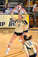 17 November 2011:  FIU setter Jessica Egan (6) sets the ball in the second set as the FIU Golden Panthers defeated the Denver University Pioneers, 3-1 (25-21, 23-25, 25-21, 25-18), in the first round of the Sun Belt Conference Tournament at U.S Century Bank Arena in Miami, Florida.