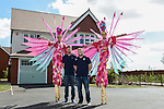 Cardiff Blues, Wales and British and Irish Lions player Alex Cuthbert and Cardiff Blues Rhys Williams with Stilt walkers: Sara and Emma-Lou as 'Birds of Paradise' from Vertigo Stilts  <br /> <br /> Redrow Homes Official opening of  at Belle View at Mon Bank Newport with Cardiff Blues Players Alex Cuthbert and Rhys Williams - Newport <br /> <br /> &copy; www.sportingwales.com- PLEASE CREDIT IAN COOK