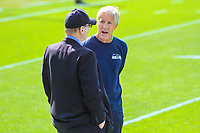 Seattle Seahawks owner Paul Allen and head coach Pete Carroll during a National Football League game against the Green Bay Packers on September 10, 2017 at Lambeau Field in Green Bay, Wisconsin. Green Bay defeated Seattle 17-9. (Brad Krause/Krause Sports Photography)
