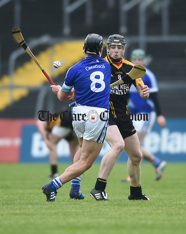 Tony Kelly of Ballyea in action against Liam Markham of Cratloe during their match in Ennis. Photograph by John Kelly.