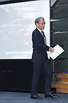Toyota's Senior Managing officer Nobuhiko Murakami attends a news conference to announce their first quarter financial results at the office headquarters on August 4, 2017, Tokyo, Japan. They announced an increase in the number of vehicles sold versus the same period last year, and also an increase in net income up to 613 .0 billion yen for the quarter compared with 552.4 billion yen the previous year. (Photo by Rodrigo Reyes Marin/AFLO)