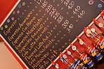 Expresso chalk board menu and Torani flavor bottles. Cherri Alley Cafe.