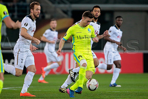 February  16th 2017, Ghent, Belgium;  Brecht Dejaegere midfielder of KAA Gent passes against Mousa Dembele midfielder of Tottenham pictured during the UEFA Europa League Round of 32  First Leg between  KAA Gent and Tottenham Hotspur