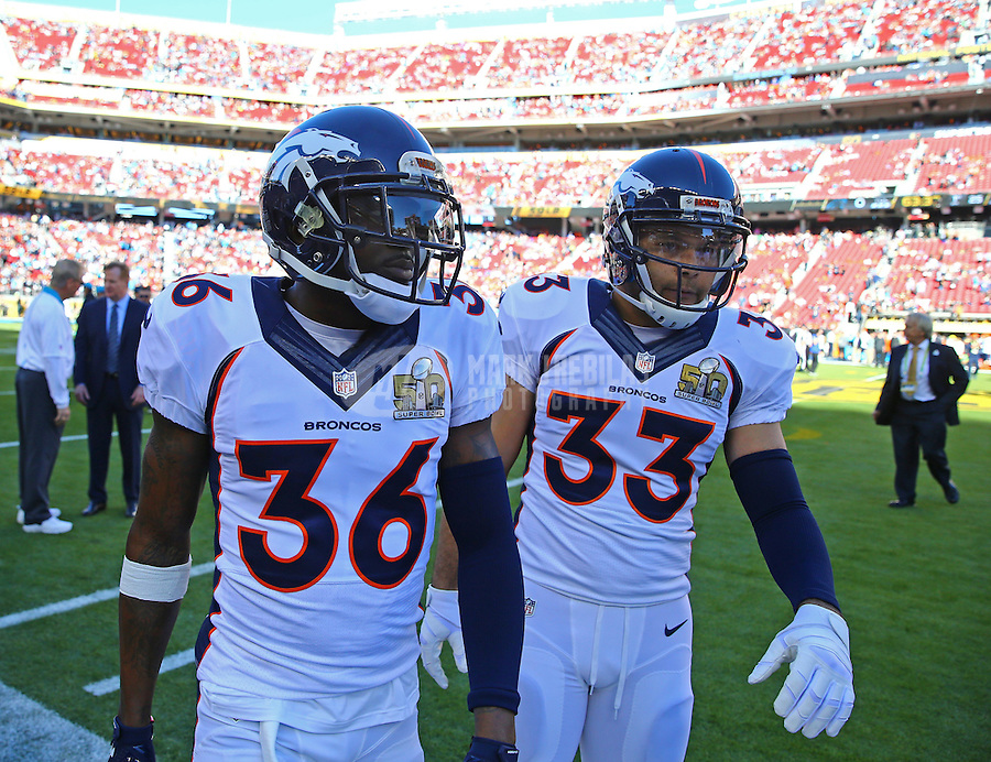 Feb 7, 2016; Santa Clara, CA, USA; Denver Broncos cornerback Kayvon Webster (36) and safety Shiloh Keo (33) against the Carolina Panthers in Super Bowl 50 at Levi's Stadium. Mandatory Credit: Mark J. Rebilas-USA TODAY Sports