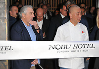 Robert De Niro and Nobu Matsuhisa at the Nobu Hotel Shoreditch official launch party, Nobu Hotel Shoreditch, Willow Street, London, England, UK, on Tuesday 15 May 2018.<br /> CAP/CAN<br /> &copy;CAN/Capital Pictures