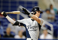 Florida International University outfielder Nathan Burns (6) plays against the Miami Marlins, which won the game 5-1 on March 7, 2012 at Miami, Florida. .