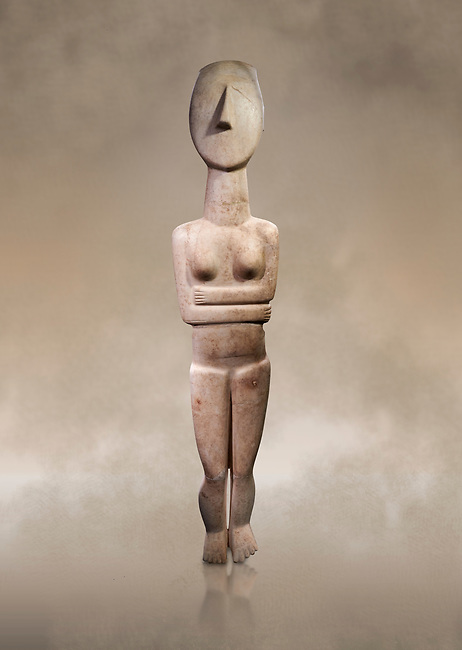 Large Female Cycladic Canonical type, Spedos variety female figurine statuette. Early Cycladic Period II from Syros phase , 1.4m high (2800-2300 BC). Museum of Cycladic Art Athens, <br /> <br /> This impressive Cycladic statue is distinguished by its clear outlines and perfect proportions as well as plasticity of form. A sense of movement is introduced into the staue by its left hip being raised and a slight inclination of the head to the right. This movement gives the statue an air of mysetery and makes it a precursor of the later Archaic statue forms. This sense of movement also sets this Cycladic statue apart from other of the period. It was probably a cult statue and stood at the shrine of a cult goddess.
