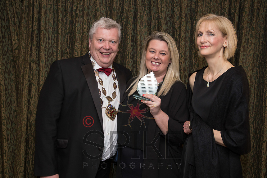 Pictured with Michael Auty QC, President of the Nottinghamshire Law Society are Kelly Barton (centre) and Nicola Bennison of Eversheds