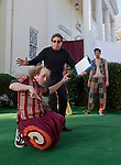 "Michael Peters and Brian Ault rehearse a scene from ""A Midsummer Night's Dream"" in front of the Lear Theater on Wednesday, June 4, 2014"
