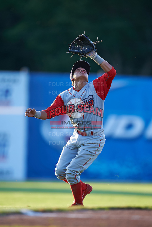 Williamsport Crosscutters shortstop Grenny Cumana (2) catches a pop up during a game against the Batavia Muckdogs on July 15, 2015 at Dwyer Stadium in Batavia, New York.  Williamsport defeated Batavia 6-5.  (Mike Janes/Four Seam Images)